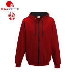 Run Alcester Red/Black Contrast Zipped Hoodie