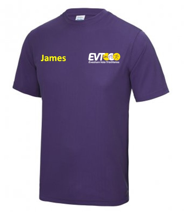 Evesham Vale Triathletes Junior Purple Cool Tshirt